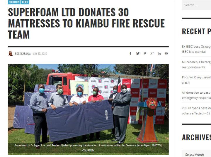 Superfoam Donation To Kiambu County Fire Rescue Team.