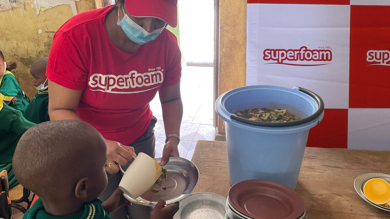 Superfoam Ltd provides lunch to over 1,200 students at the Reuben Centre School, Mukuru Kwa Njenga Slums, Nairobi.